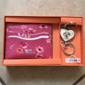 Coach cardholder and keychain set